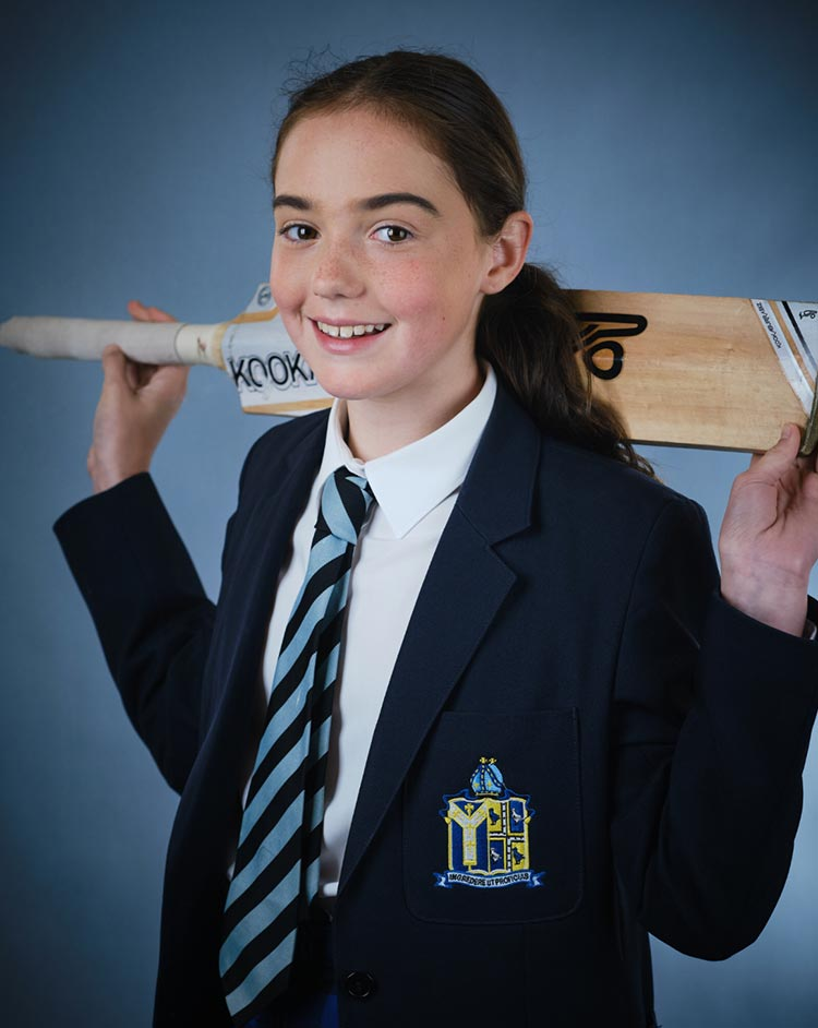 Student with cricket bat