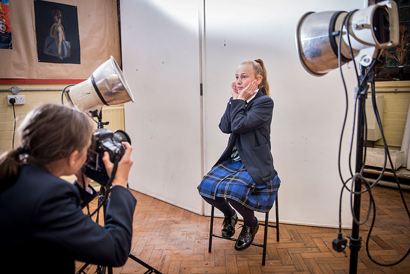 Student being photographed